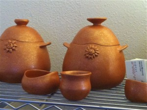 Row of Micaceous Pots